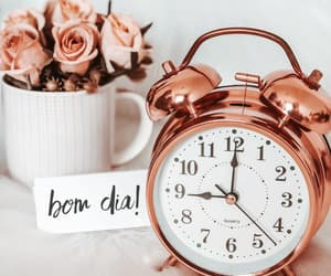 clock, bom dia, and flowers image