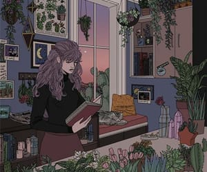 girl, art, and plants image