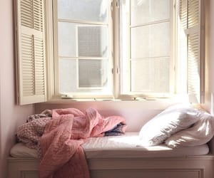 pink, bed, and window image