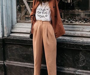 fashion, outfit, and brown blazer image