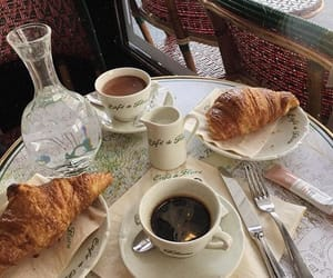 coffee, croissant, and cafe image