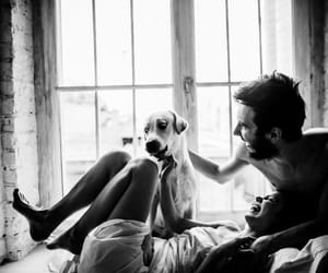 couple, dog, and black and white image