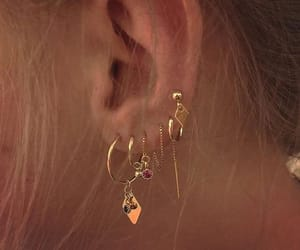 earrings, girl, and piercing image