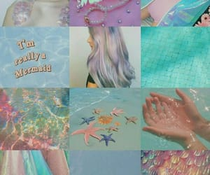 mermaid, sea, and blue image