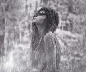 bw, rain, and woman image