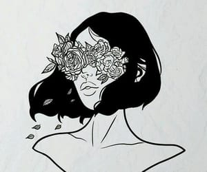 black, flowers, and white image