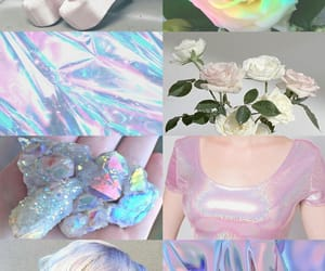 aesthetic, holographic, and light blue image