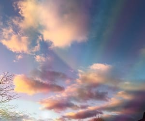 sky, rainbow, and clouds image