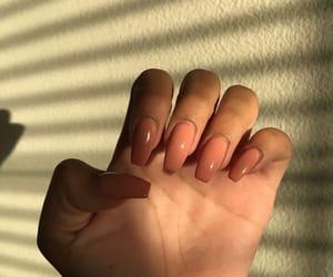 nails, peach, and pink nails image