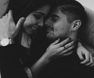 black & white, couple, and kiss image