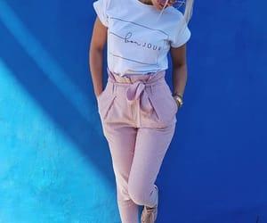 blue wall, bows, and fashion image