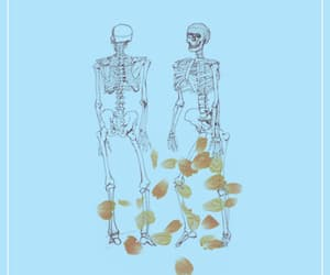 blue, drawing, and skeleton image