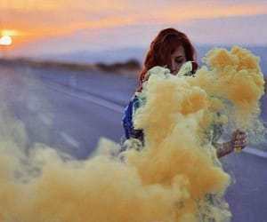 girl, yellow, and smoke image