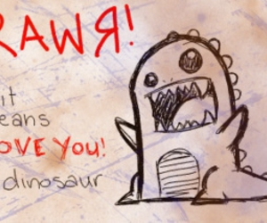 love and dinosaur image