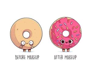 donuts, makeup, and funny image