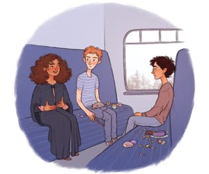 harry potter, hermione granger, and hogwarts express image