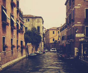 canal, venice, and italy image