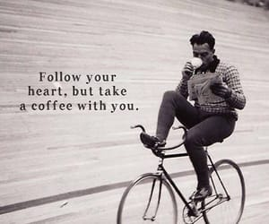 blackandwhite, bycicle, and coffee image