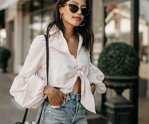 denim shorts, fashion, and shirt image