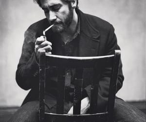 jake gyllenhaal, black and white, and cigarette image