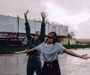 rain, girls, and friends image