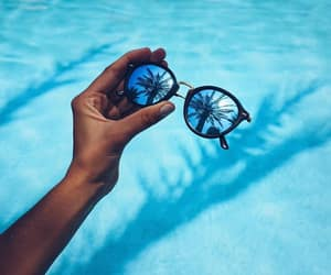 summer, blue, and sunglasses image