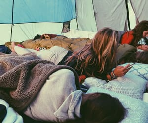 camping, tent, and friendship image