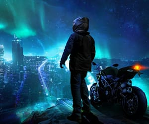 city, motorbike, and motorcyclist image