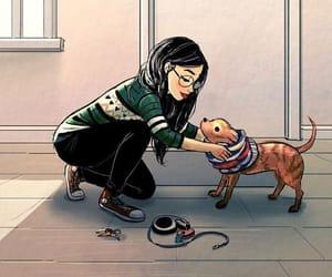 dog, girl, and drawing image