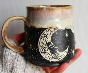 design, moon, and mug image
