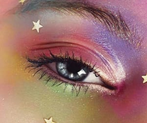 blue eyes, rainbow, and stars image