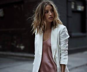 white blazer, pink slip dress, and silk honey and love image
