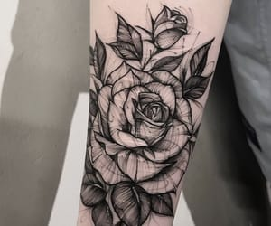 art, black, and rose image
