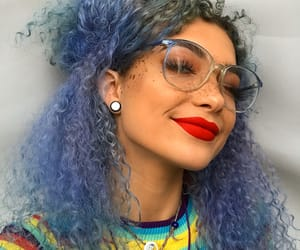 colorful hair, curls, and glasses image