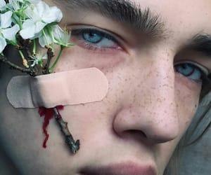 boy, flowers, and eyes image
