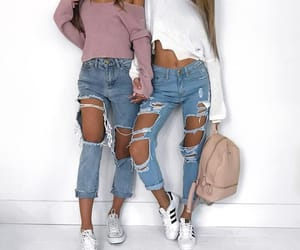 girls, friends, and jeans image