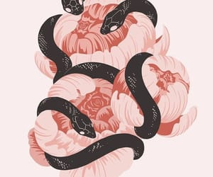 snake, wallpaper, and flowers image
