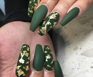 claws, green nails, and coffin nails image