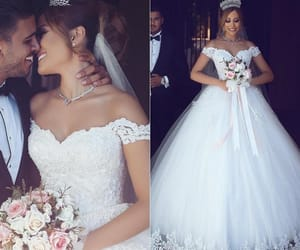 bridal dress, princess wedding dress, and wedding dress image