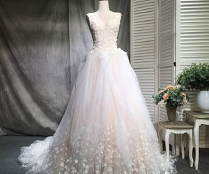 bridal gown, champagne wedding dress, and wedding gown image