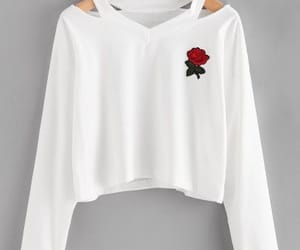 rose, t-shirt, and white image