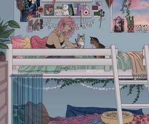 girl, cat, and room image