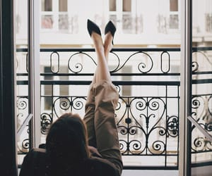 balcony, girl, and beautiful image