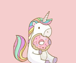 unicorn, background, and donut image