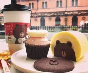 coffee, korean cafe, and line friends image