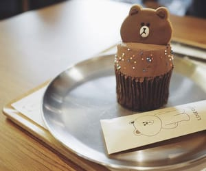 chocolate, cupcake, and line friends image