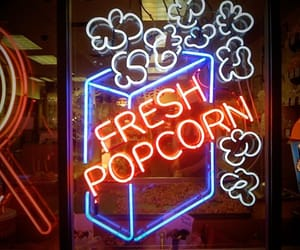 neon, popcorn, and blue image