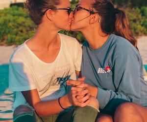 beach, gay, and kissing image