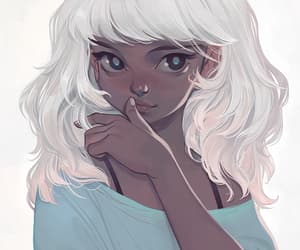 beauty, drawing, and white hair image