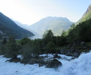 mountains, norway, and river image